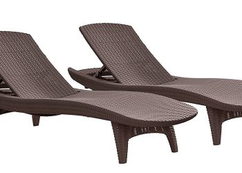 Keter Pacific 2-Pack All-weather Adjustable Outdoor Patio Chaise Lounge Furniture -