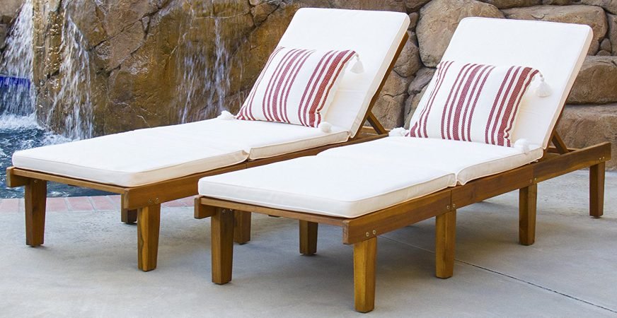 Best Choice Products Outdoor Patio Poolside Furniture Set Of 2 Acacia Wood Chaise Lounge