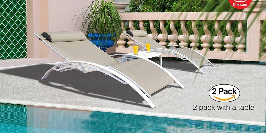 Kozyard Kozy Lounge Elegant Patio Reclining Adjustable Chaise Lounge Aluminum and Textilene Sunbathing Chair for All Weather, blue